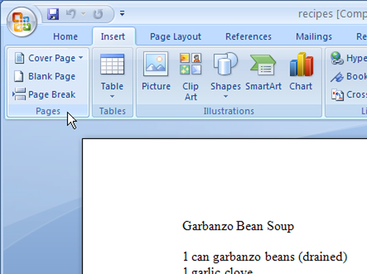 How to Insert a Blank Page in Word 2007 - dummies