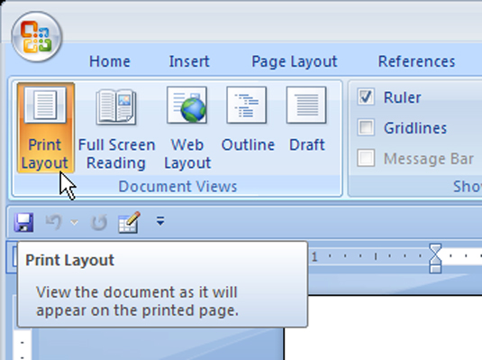 How To Use Print Layout And Draft View In Word 2007 Dummies