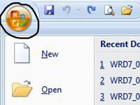The Office button in Word 2007