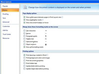 Word options window in Microsoft Word.