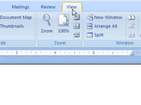 The View tab in Word 2007.