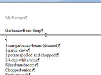 Moving the split bar in a Word document.