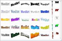 The WordArt gallery in Word.