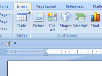 the Insert tab on the Word 2007 Ribbon.