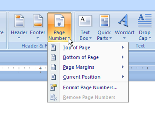 microsoft word how to add page numbers and header