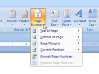 Drop-down list for Page Number button in Word.