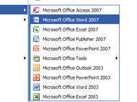 The Microsoft Office icons in the start menu.