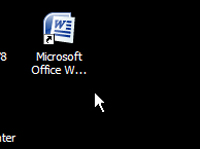 The Microsoft Word icon in the desktop.