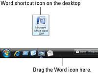 Word shortcut on Desktop.