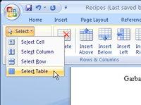 The Select button in Word.