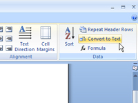 The convert to text button in Word.