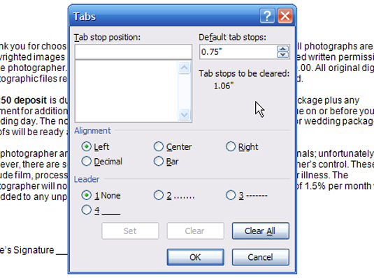 how to change the default tab stops in word 2007