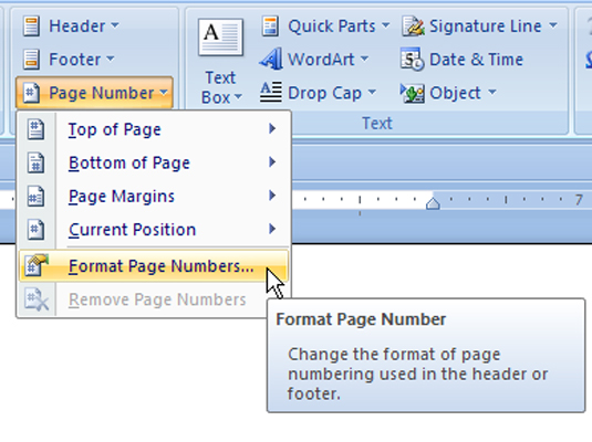 drop down menu that appears when you click the page number button in words insert