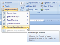 Drop-down menu that appears when you click the Page Number button in Word's Insert tab.