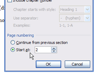 The Page Number Format dialog box in Word.