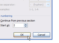 OK button in Word's Page Number Format dialog box.