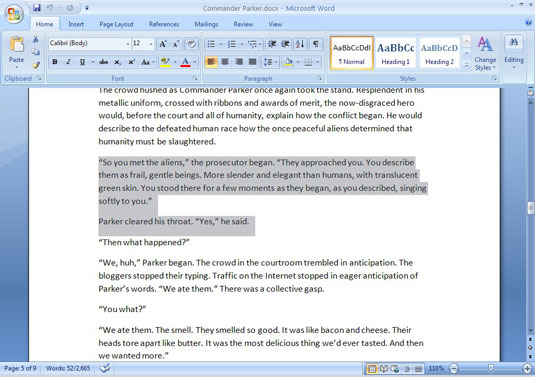 An open document in Word 2007
