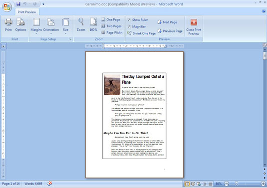 Print preview of a Word document.