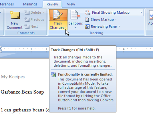 The track changes button in Word 2007.