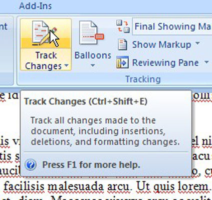 Applying the track changes in a Word document.