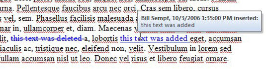 A Word document with added and deleted sections.