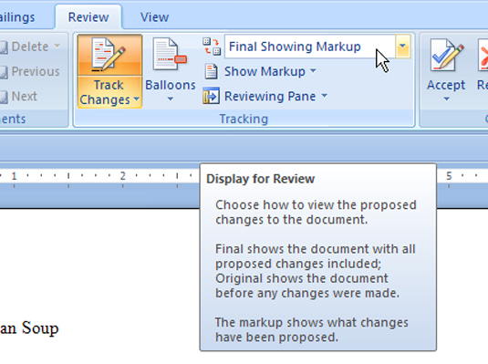 Choosing which changes are visible for review in a Word document