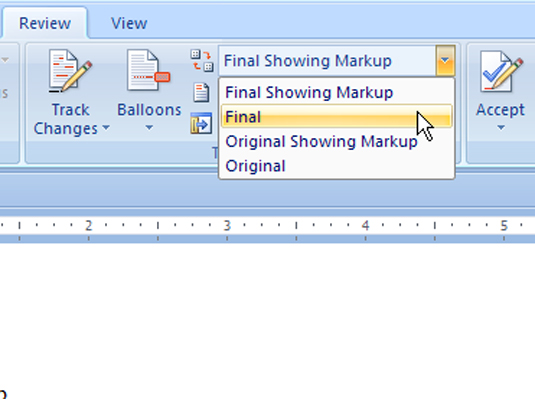 The changes review options in Word 2007.