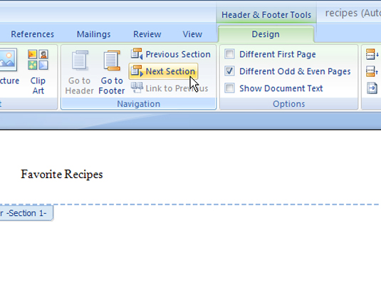 Word's Header and Footer tools.