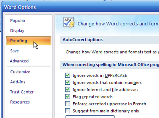 ms office 2007 spell check