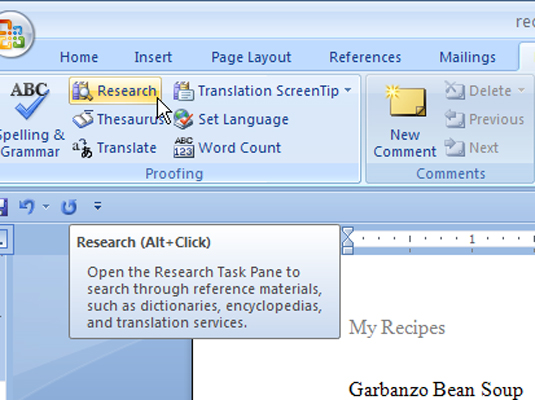using the word 2007 research task pane