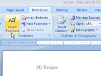 Word's Insert Footnote button.