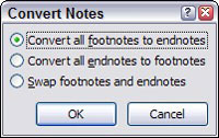 Convert notes dialog box in Word.