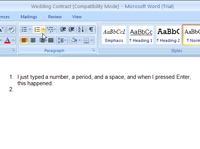 Creating a numbered list in Word.