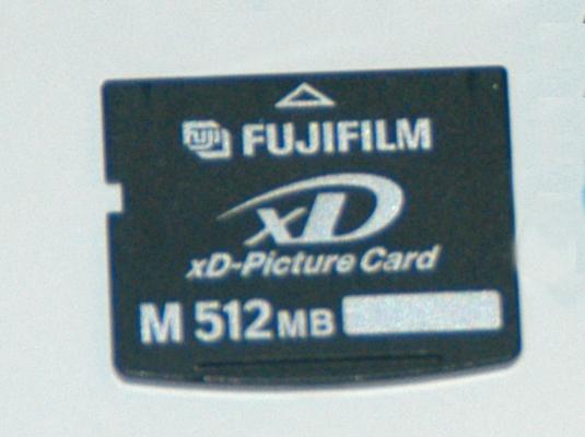 A digital camera memory card.
