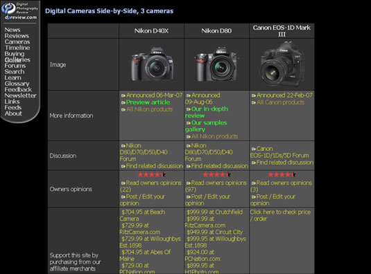 Compare one camera's features against another's on DPReview's Web site.