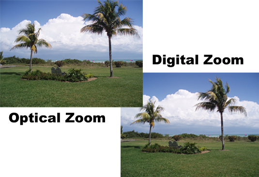 The camera used an optical zoom for the picture on the left and a digital zoom for the one on the r