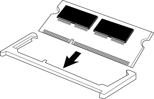 Align the notch in the connector of the memory module with the corresponding key in the socket. [Cr