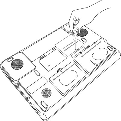 The illustration above shows the proper technique for removing the memory module slot cover on the