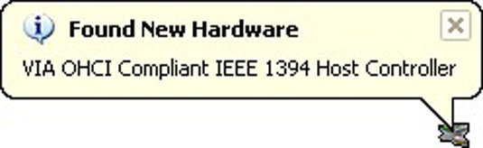 The device installed here is an IEEE 1394 (or FireWire) port expansion card.