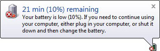 The low battery warning for Windows Vista.
