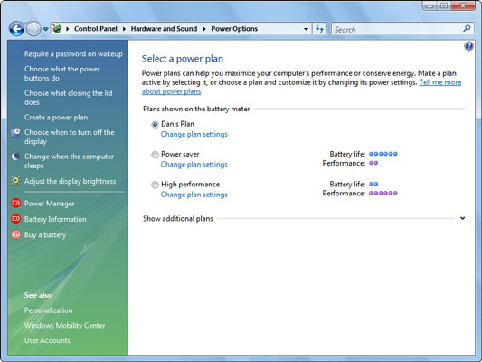 Use the Power Schemes tab in Windows XP to conserve power.