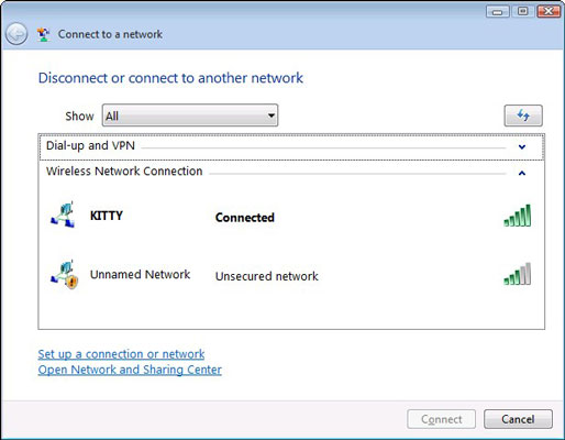 The Connect to a Network window appears.