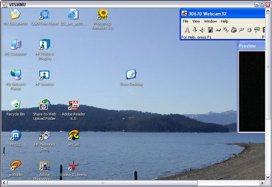 Another computer's desktop appears in your laptop's window.