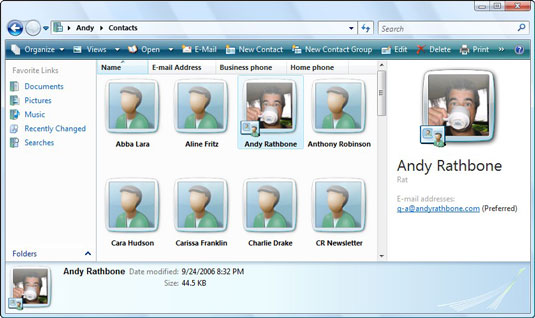 The Contacts folder in Windows Mail.