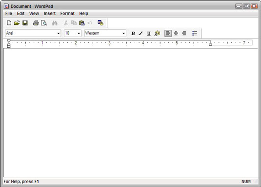 how to create a formatted document in wordpad for windows