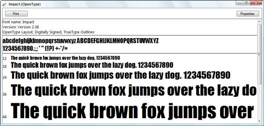 Double-click a font's name to see what it would look like on paper.