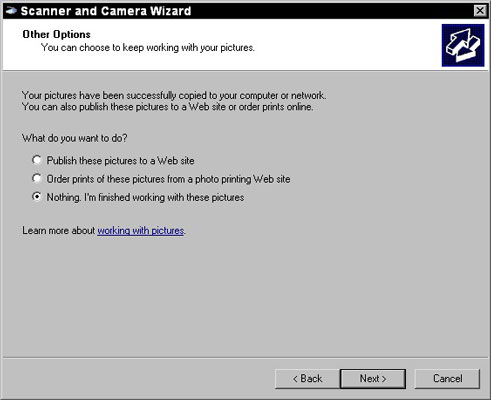 How to Use the Scanner and Camera Wizard in Windows XP - dummies