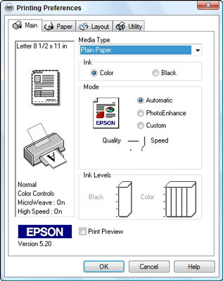 Use the Printing Preferences dialog box to change settings specific to your printer, including the
