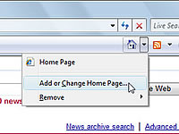The Homepage menu appears when you click the house in the top right corner of the window.