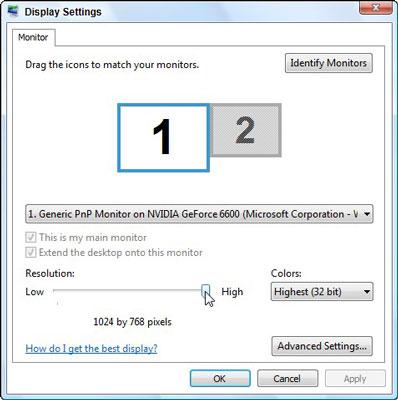 The Display Settings in Windows Vista.